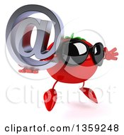 Clipart Of A 3d Tomato Character Wearing Sunglasses Jumping And Holding An Email Arobase At Symbol On A White Background Royalty Free Illustration by Julos