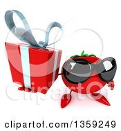 Clipart Of A 3d Tomato Character Wearing Sunglasses And Holding Up A Gift On A White Background Royalty Free Illustration by Julos