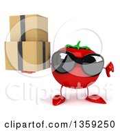 Clipart Of A 3d Tomato Character Wearing Sunglasses Giving A Thumb Down And Holding Boxes On A White Background Royalty Free Illustration by Julos