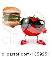 Clipart Of A 3d Tomato Character Wearing Sunglasses Holding And Pointing To A Double Cheeseburger On A White Background Royalty Free Illustration by Julos