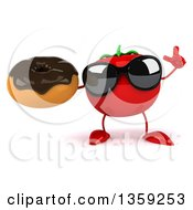 Clipart Of A 3d Tomato Character Wearing Sunglasses Holding Up A Finger And A Donut On A White Background Royalty Free Illustration by Julos