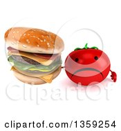 Clipart Of A 3d Unhappy Tomato Character Holding Up A Double Cheeseburger On A White Background Royalty Free Illustration by Julos