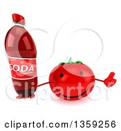 Clipart Of A 3d Happy Tomato Character Holding Up A Thumb And A Soda Bottle On A White Background Royalty Free Illustration by Julos