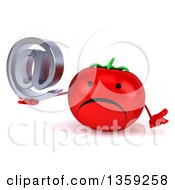 Clipart Of A 3d Happy Tomato Character Shrugging And Holding An Email Arobase At Symbol On A White Background Royalty Free Illustration by Julos