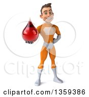 Clipart Of A 3d Young Brunette White Male Super Hero In An Orange Suit Holding A Blood Or Hot Water Drop On A White Background Royalty Free Illustration