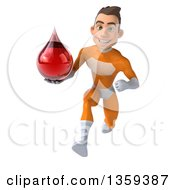 Clipart Of A 3d Young Brunette White Male Super Hero In An Orange Suit Holding A Blood Or Hot Water Drop And Sprinting On A White Background Royalty Free Illustration
