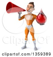 Clipart Of A 3d Young Brunette White Male Super Hero In An Orange Suit Holding A Blood Or Hot Water Drop And Using A Megaphone On A White Background Royalty Free Illustration