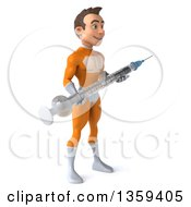 Clipart Of A 3d Young Brunette White Male Super Hero In An Orange Suit Holding A Giant Vaccine Syringe On A White Background Royalty Free Illustration