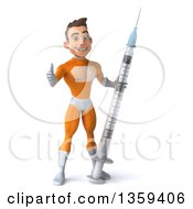 Clipart Of A 3d Young Brunette White Male Super Hero In An Orange Suit Giving A Thumb Up And Holding A Giant Vaccine Syringe On A White Background Royalty Free Illustration