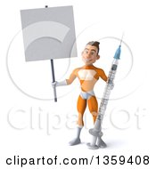 Clipart Of A 3d Young Brunette White Male Super Hero In An Orange Suit Holding A Giant Vaccine Syringe And Blank Sign On A White Background Royalty Free Illustration