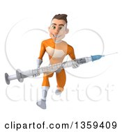 Clipart Of A 3d Young Brunette White Male Super Hero In An Orange Suit Sprinting And Holding A Giant Vaccine Syringe On A White Background Royalty Free Illustration