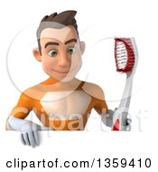 Clipart Of A 3d Young Brunette White Male Super Hero In An Orange Suit Holding A Giant Toothbrush And Looking Down Over A Sign On A White Background Royalty Free Illustration