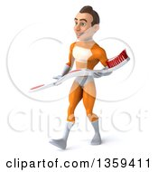 Clipart Of A 3d Young Brunette White Male Super Hero In An Orange Suit Walking And Carrying A Giant Toothbrush On A White Background Royalty Free Illustration