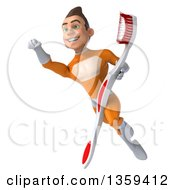 Clipart Of A 3d Young Brunette White Male Super Hero In An Orange Suit Holding A Giant Toothbrush And Flying On A White Background Royalty Free Illustration