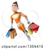 3d Young Brunette White Male Super Hero In An Orange Suit Flying With Shopping Bags On A White Background