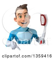 Clipart Of A 3d Young White Male Super Hero In A Light Blue Suit Holding A Giant Toothbrush And Pointing Down Over A Sign On A White Background Royalty Free Illustration