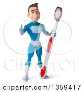 Clipart Of A 3d Young White Male Super Hero In A Light Blue Suit Giving A Thumb Up And Holding A Giant Toothbrush On A White Background Royalty Free Illustration