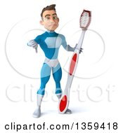 Clipart Of A 3d Young White Male Super Hero In A Light Blue Suit Giving A Thumb Down And Holding A Giant Toothbrush On A White Background Royalty Free Illustration