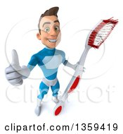 Clipart Of A 3d Young White Male Super Hero In A Light Blue Suit Holding Up A Thumb And A Giant Toothbrush On A White Background Royalty Free Illustration
