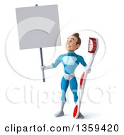 Clipart Of A 3d Young White Male Super Hero In A Light Blue Suit Holding A Giant Toothbrush And Blank Sign On A White Background Royalty Free Illustration