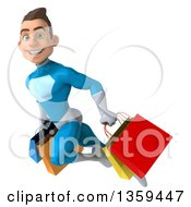 3d Young White Male Super Hero In A Light Blue Suit Flying With Shopping Bags On A White Background