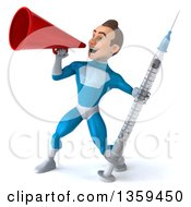 Clipart Of A 3d Young White Male Super Hero In A Light Blue Suit Holding A Giant Vaccine Syringe And Using A Megaphone On A White Background Royalty Free Illustration