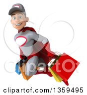 3d Young White Male Super Hero Mechanic In Gray And Red Flying With Shopping Bags On A White Background