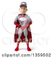 Clipart Of A 3d Young White Male Super Hero Mechanic In Gray And Red On A White Background Royalty Free Illustration by Julos