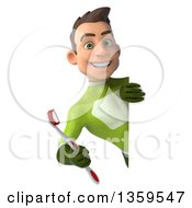 Clipart Of A 3d Young White Male Super Hero In A Green Suit Holding A Toothbrush Around A Sign On A White Background Royalty Free Illustration
