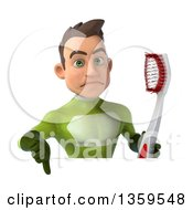 Clipart Of A 3d Young White Male Super Hero In A Green Suit Holding A Thumb Down And Giant Toothbrush Over A Sign On A White Background Royalty Free Illustration