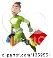 3d Young White Male Super Hero In A Green Suit Flying With Shopping Bags On A White Background