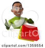 3d Young Black Male Super Hero In A Green Suit Giving A Thumb Up And Holding Shopping Bags Over A Sign On A White Background