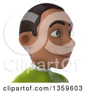 3d Avatar Of A Young Black Male Super Hero In A Green Suit On A White Background