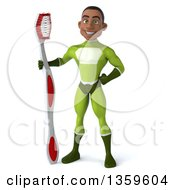 Clipart Of A 3d Young Black Male Super Hero In A Green Suit Standing With A Giant Toothbrush On A White Background Royalty Free Illustration
