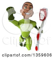 Clipart Of A 3d Young Black Male Super Hero In A Green Suit Flying With A Giant Toothbrush On A White Background Royalty Free Illustration