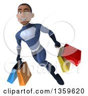 3d Young Black Male Super Hero In A Dark Blue Suit Holding Shopping Bags And Flying On A White Background
