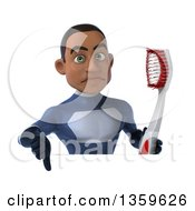 Clipart Of A 3d Young Black Male Super Hero Dark Blue Suit Giving A Thumb Down And Holding A Giant Toothbrush Over A Sign On A White Background Royalty Free Illustration