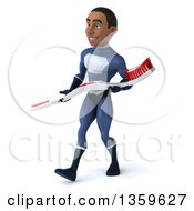 Clipart Of A 3d Young Black Male Super Hero Dark Blue Suit Walking And Carrying A Giant Toothbrush On A White Background Royalty Free Illustration
