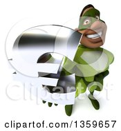 Clipart Of A 3d Flying Buff Male Black Super Hero In Green Holding Up A Euro Currency Symbol On A White Background Royalty Free Illustration