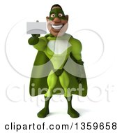 Clipart Of A 3d Flying Buff Male Black Super Hero In Green Holding Out A Business Card On A White Background Royalty Free Illustration