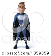 Clipart Of A 3d Young Indian Male Super Hero In A Dark Blue Suit On A White Background Royalty Free Illustration by Julos