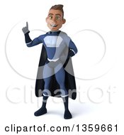 Clipart Of A 3d Young Indian Male Super Hero In A Dark Blue Suit Holding Up A Finger On A White Background Royalty Free Illustration