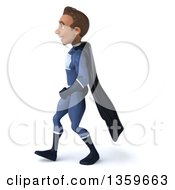Clipart Of A 3d Young Indian Male Super Hero In A Dark Blue Suit Walking On A White Background Royalty Free Illustration