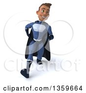 Clipart Of A 3d Young Indian Male Super Hero In A Dark Blue Suit Speed Walking On A White Background Royalty Free Illustration