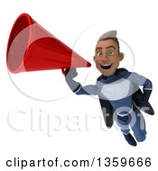 Clipart Of A 3d Young Indian Male Super Hero In A Dark Blue Suit Flying And Using A Megaphone On A White Background Royalty Free Illustration