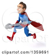 Clipart Of A 3d Young Brunette White Male Super Hero In A Blue And Red Suit Holding A Vaccine Syringe And Running On A White Background Royalty Free Illustration