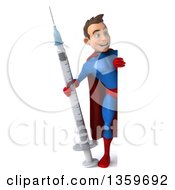 Clipart Of A 3d Full Length Young Brunette White Male Super Hero In A Blue And Red Suit Holding A Vaccine Syringe Around A Sign On A White Background Royalty Free Illustration