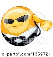 Clipart Of A Cartoon Yellow Smiley Emoticon Emoji Bodyguard Preseing An Ear Piece And Wearing Shades Royalty Free Vector Illustration by yayayoyo