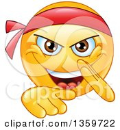 Clipart Of A Cartoon Yellow Smiley Emoticon Emoji Doing A Karate Chop Royalty Free Vector Illustration