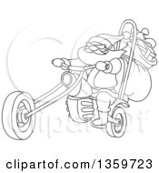 Cartoon Black And White Lineart Christmas Santa Biker On A Chopper Motorcycle